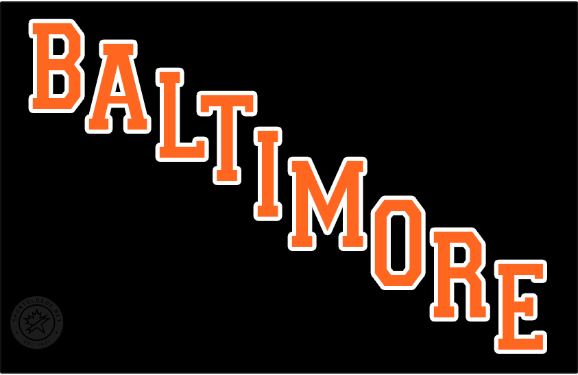 Baltimore Blades Logo Jersey Logo (1974/75) - BALTIMORE laid out diagonally in orange on a black jersey, worn on the Baltimore Blades road black jersey in 1974-1975 SportsLogos.Net