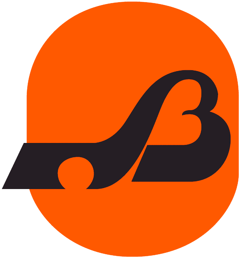 Baltimore Blades Logo Primary Logo (1974/75) - A black B with hockey stick on red SportsLogos.Net