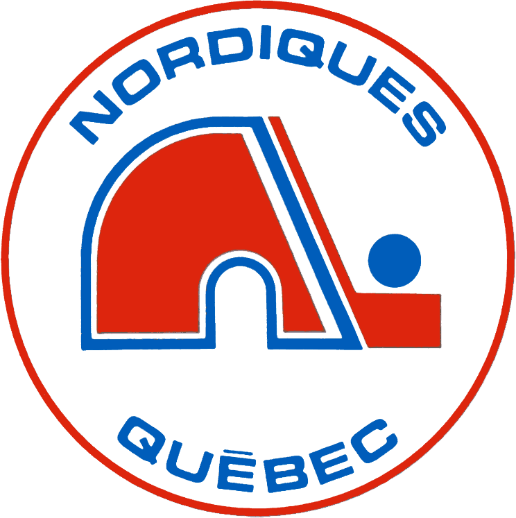 Quebec Nordiques Logo Primary Logo (1972/73-1978/79) - A red N next to a hockey stick, formed together as an igloo in a red and white circle with team name in blue. SportsLogos.Net