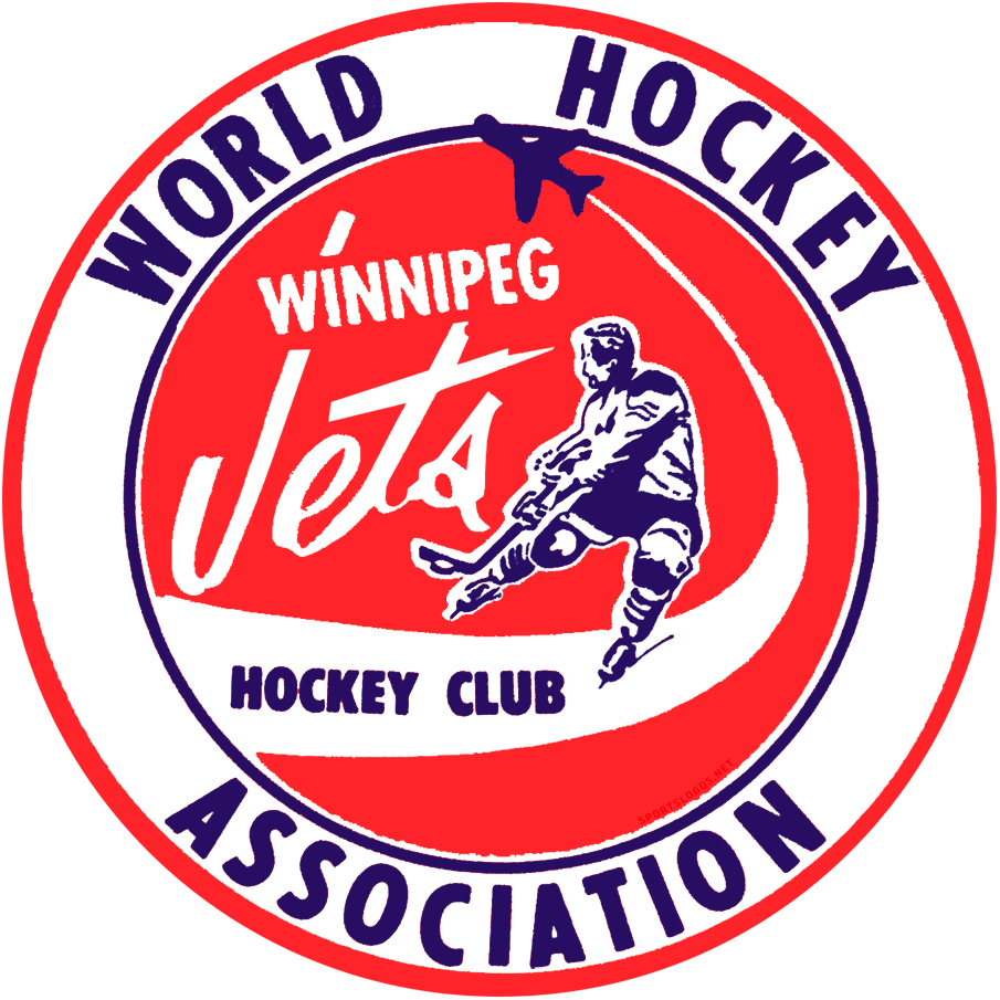 Winnipeg Jets Logo Primary Logo (1972/73) - For their first season in the World Hockey Association, the WHA Winnipeg Jets used the same logo as the WCJHL junior Winnipeg Jets team but with WORLD HOCKEY ASSOCIATION arched around it in blue. The logo featured a depiction of a hockey player in blue on a red circle with WINNIPEG JETS scripted across it in white, a blue jet soars above with HOCKEY CLUB written in the contrail. SportsLogos.Net