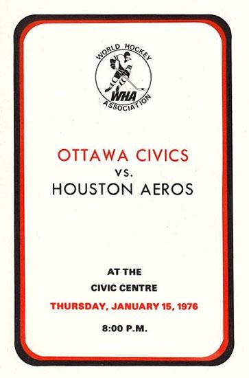 Ottawa Civics Program Program (1975/76) - Program from the second (and final) home game in Ottawa Civics history - January 15, 1976 SportsLogos.Net