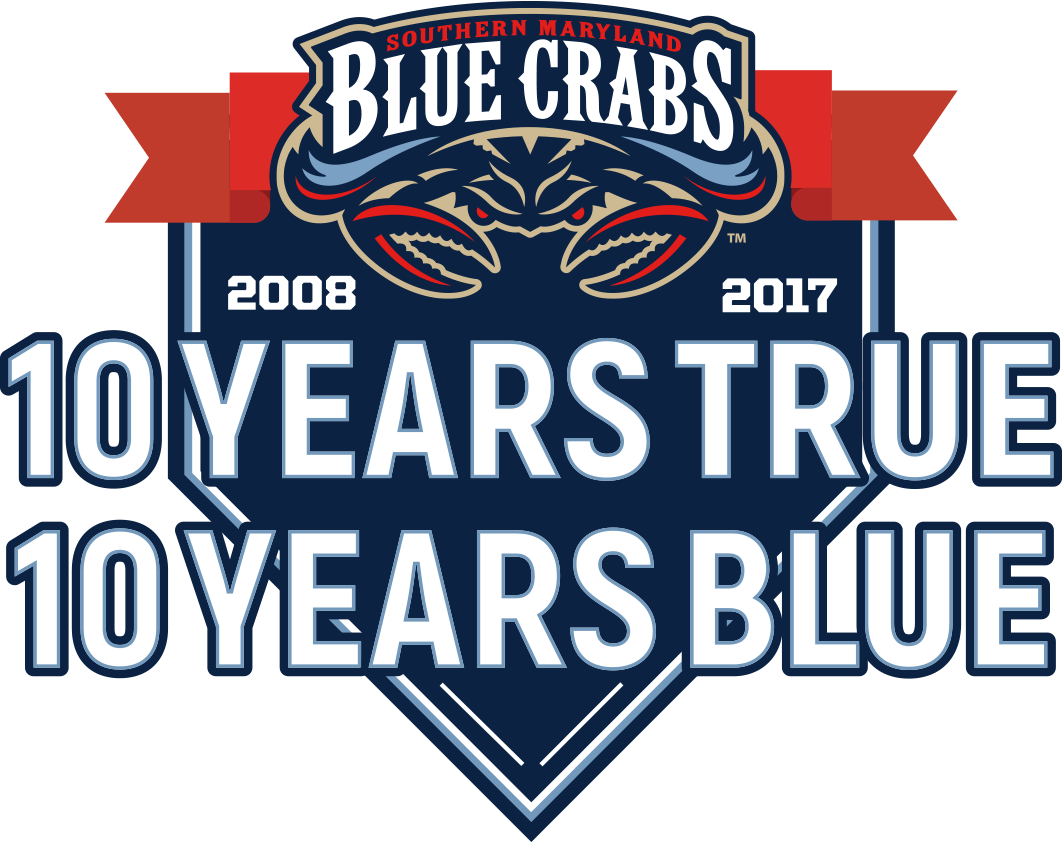 Southern Maryland  Blue Crabs Logo Anniversary Logo (2017) - Southern Maryland Blue Crabs 10th season logo SportsLogos.Net