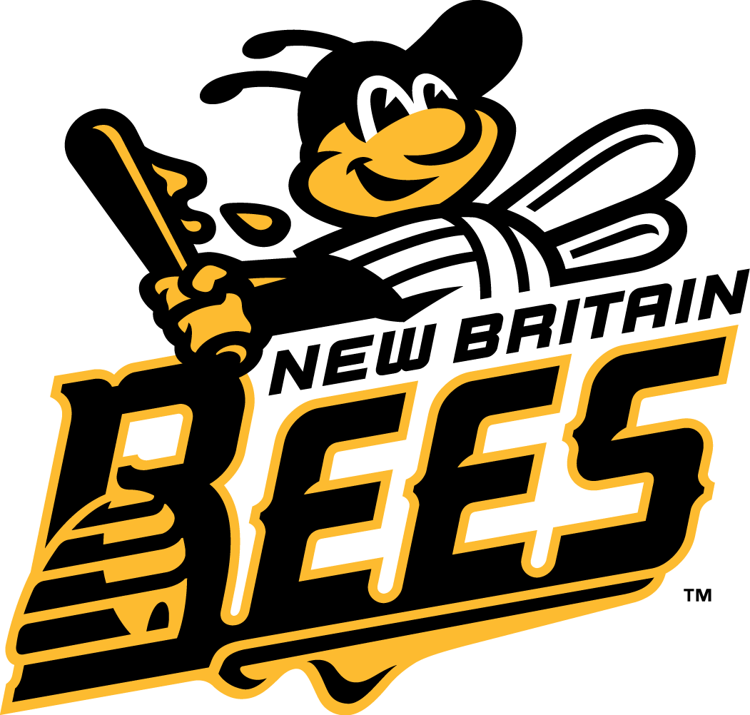 New Britain Bees Logo Primary Logo (2016-Pres) - BEES in black and yellow with a beehive in the B, letters all connected by honey SportsLogos.Net