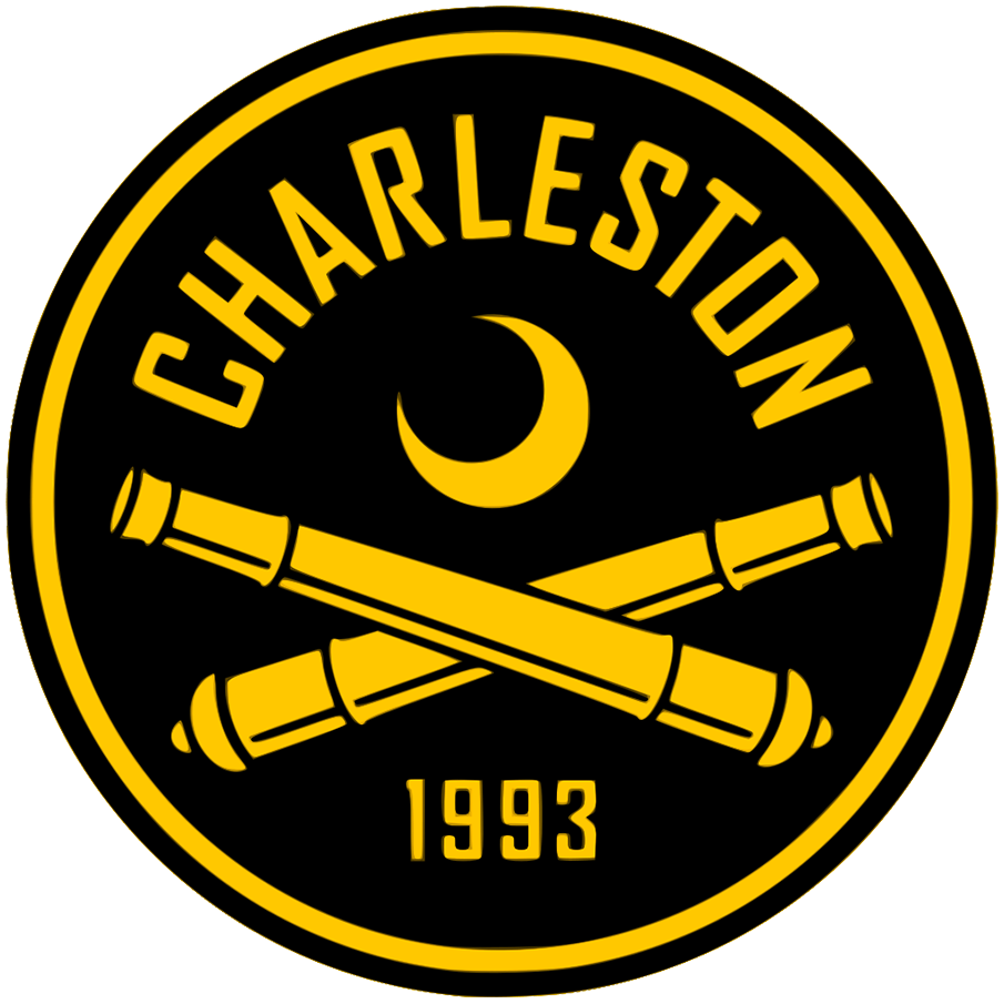 Charleston Battery Logo Primary Logo (2020-Pres) - Crossed gold cannons below a crescent on a black circle SportsLogos.Net