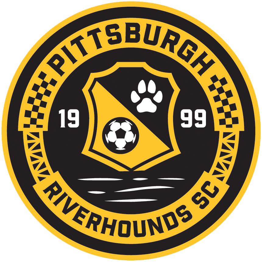 Pittsburgh  Riverhounds  Logo Primary Logo (2018-Pres) - A circle featuring visual elements representing Pittsburgh - bridges, local architecture, and the rivers SportsLogos.Net