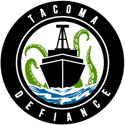 Tacoma Defiance Logo Primary Logo (2019-Pres) - A green squid-like sea creature, a kraken perhaps, seen behind a black ship on the water inside a black roundel  SportsLogos.Net