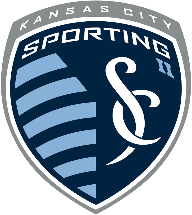 Sporting Kansas City II  Logo Primary Logo (2020-Pres) - Navy blue shield with interlocked SC in white and a series of powder blue horizontal stripes SportsLogos.Net