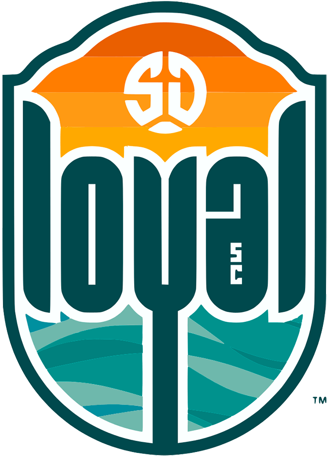 San Diego Loyal SC Logo Primary Logo (2020-Pres) - 'loyal' in lowercase teal letters across a shield featuring a sunset above and the ocean water below SportsLogos.Net