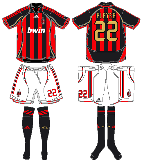 AC Milan Uniform Home Uniform (2006-2007) -  SportsLogos.Net