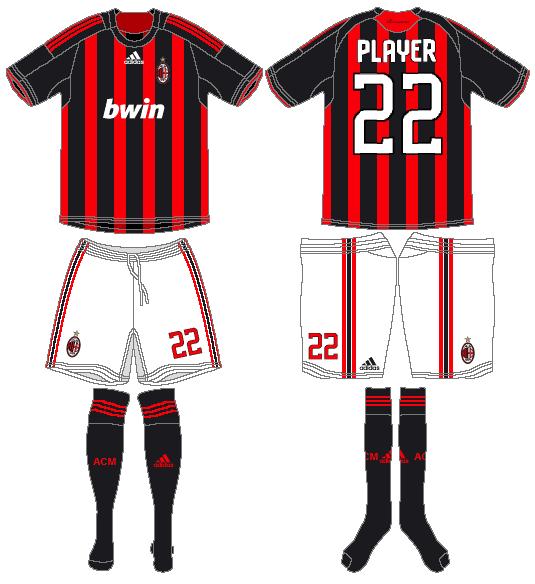 AC Milan Uniform Home Uniform (2008-2009) -  SportsLogos.Net