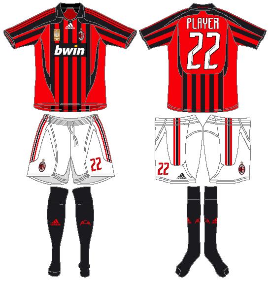 AC Milan Uniform Home Uniform (2007-2008) -  SportsLogos.Net