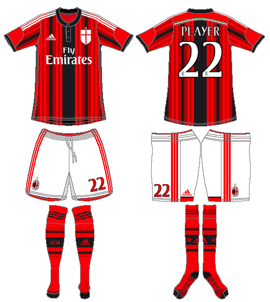 AC Milan Uniform Home Uniform (2014-2015) -  SportsLogos.Net