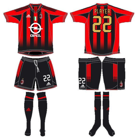 AC Milan Uniform Home Uniform (2004-2005) -  SportsLogos.Net