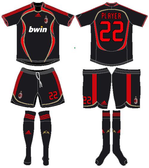 AC Milan Uniform Alternate Uniform (2006-2007) -  SportsLogos.Net