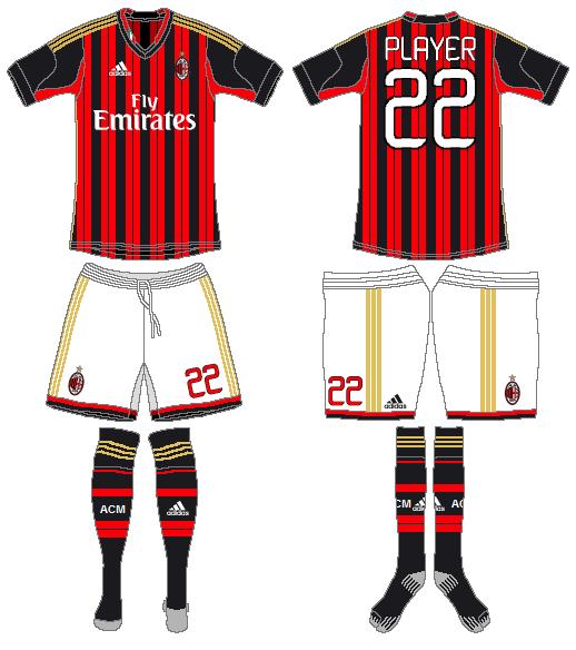 AC Milan Uniform Home Uniform (2013-2014) -  SportsLogos.Net