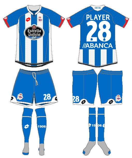 Deportivo La Coruna Uniform Home Uniform (2015-2016) -  SportsLogos.Net