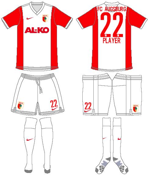 FC Augsburg Uniform Home Uniform (2014-2015) -  SportsLogos.Net