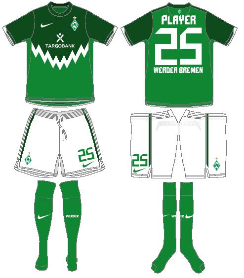 Werder Bremen Uniform Home Uniform (2010-2011) -  SportsLogos.Net