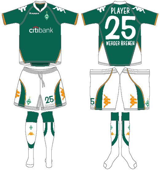 Werder Bremen Uniform Home Uniform (2007-2008) -  SportsLogos.Net