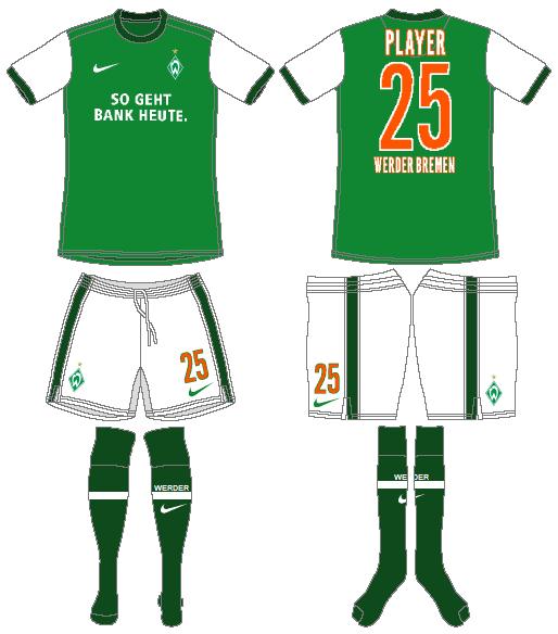 Werder Bremen Uniform Home Uniform (2009-2010) -  SportsLogos.Net