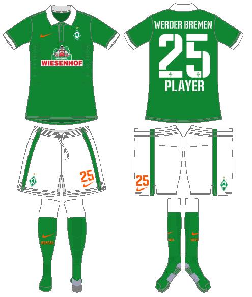 Werder Bremen Uniform Home Uniform (2014-2015) -  SportsLogos.Net