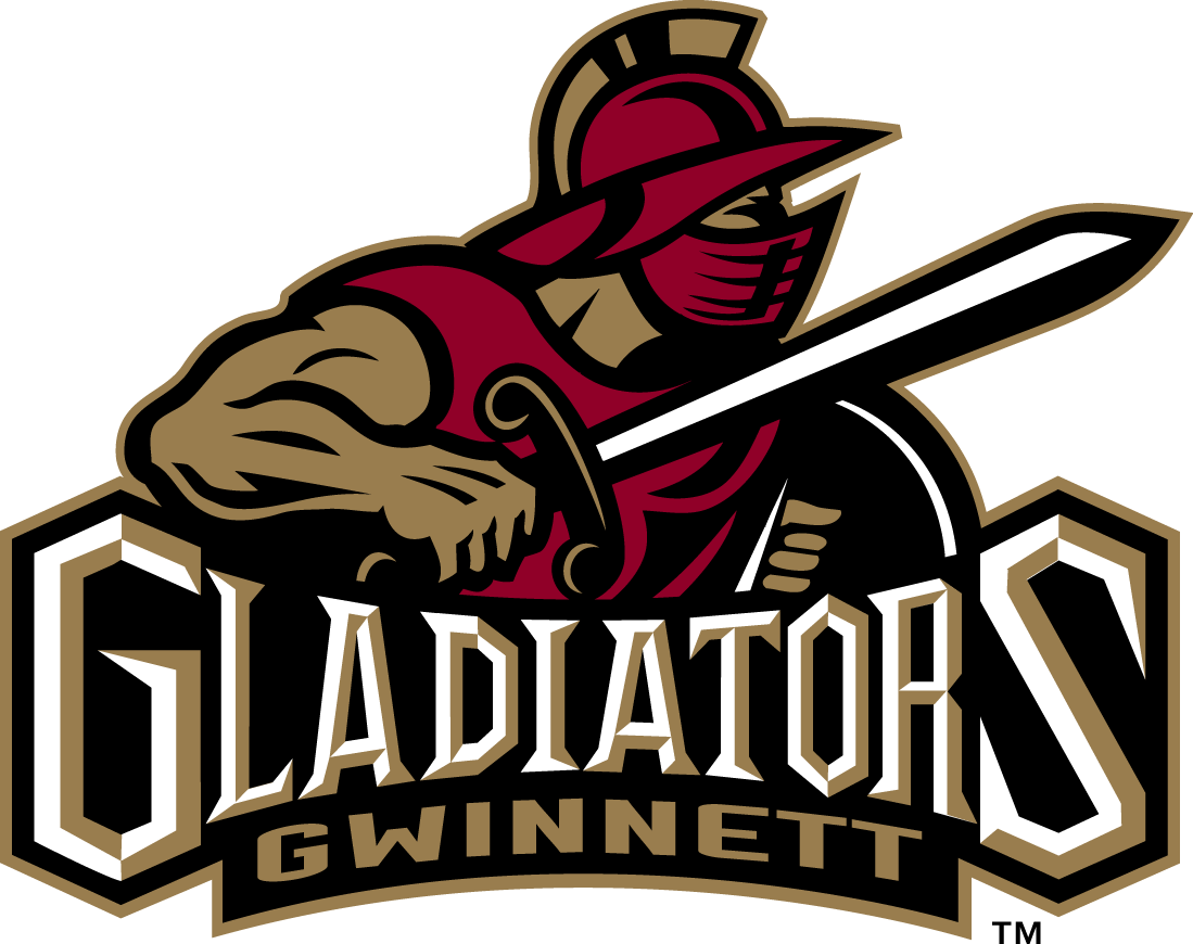 Gwinnett Gladiators Logo Primary Logo (2003/04-2014/15) - A bronze and red gladiator holding sword and shield SportsLogos.Net