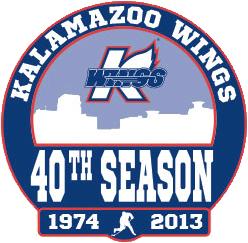 Kalamazoo Wings Logo Anniversary Logo (2013/14) - Kalamazoo Wings 40th Season Logo SportsLogos.Net