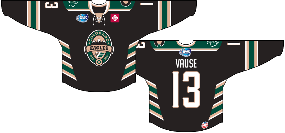 Colorado Eagles Uniform Special Event Uniform (2014/15) - Pot of Gold Jersey: Worn on March 7th, 2015, for the Colorado Eagles' 4th annual St. Patrick's Day themed Pot of Gold fundraiser. SportsLogos.Net