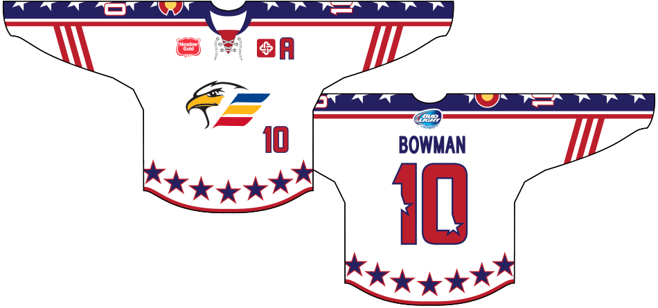 Colorado Eagles Uniform Special Event Uniform (2014/15) - Military Appreciation Jersey: Worn on October 28th, 2015, in honour of American veterans and active duty members.  SportsLogos.Net