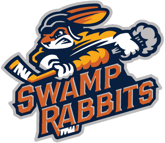 Greenville Swamp Rabbits Logo Primary Logo (2015/16-Pres) - An orange rabbit wearing a hockey helmet holding a hockey stick which is also a carrot and a puff of steam from an engine. Team name below in orange and silver with a hockey stick on the R SportsLogos.Net