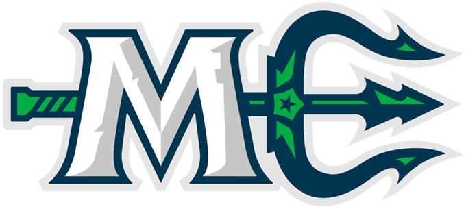 Maine Mariners Logo Primary Logo (2018/19-Pres) - An M in white with a silver bevel, a lighthouse in the bevel, next to a green and blue trident turned to make the shape of an E to form an ME, the postal abbreviation of the State of Maine SportsLogos.Net