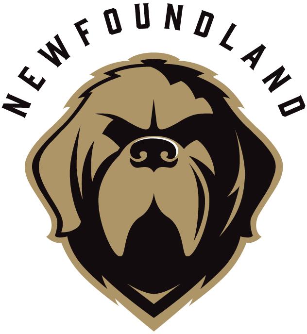 Newfoundland Growlers Logo Alternate Logo (2018/19-Pres) - Newfoundland dog head in gold and black below NEWFOUNDLAND arched in black SportsLogos.Net