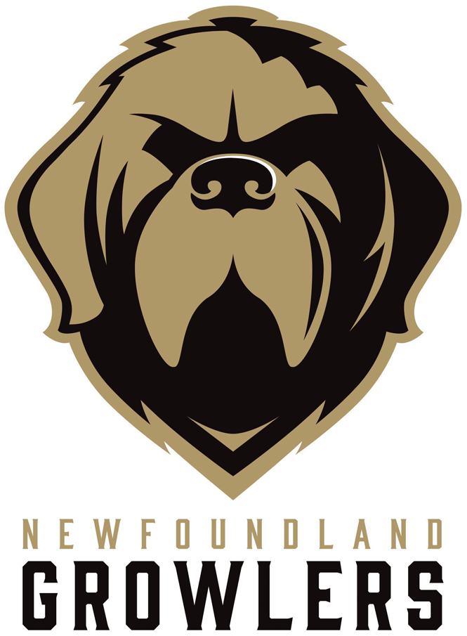 Newfoundland Growlers Logo Primary Logo (2018/19-Pres) - Newfoundland dog head in gold and black above team name SportsLogos.Net