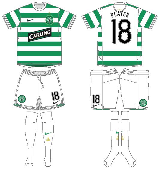 Celtic FC Uniform Home Uniform (2007/08) - UEFA Home Kit SportsLogos.Net