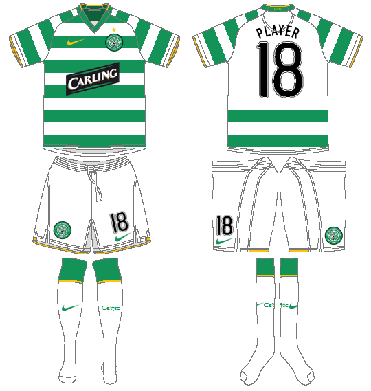 Celtic FC Uniform Home Uniform (2009/10) - UEFA Home Kit SportsLogos.Net