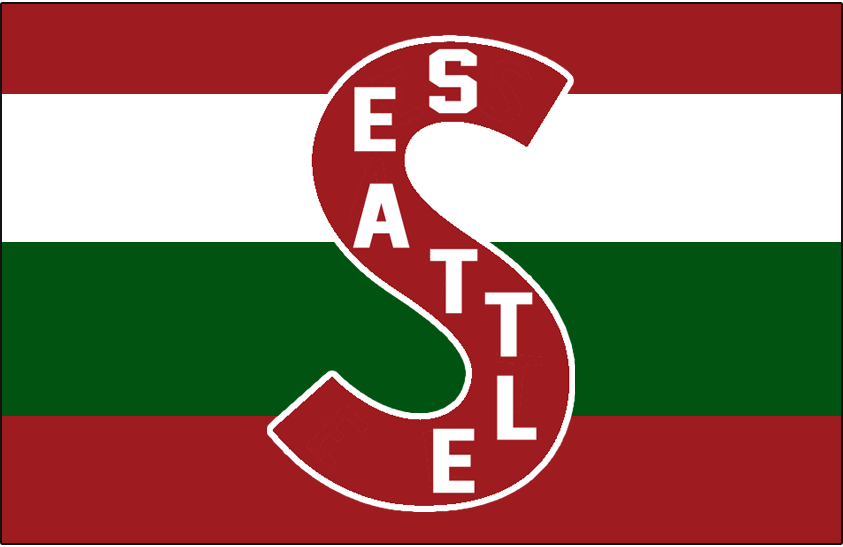 Seattle Metropolitans Logo Jersey Logo (1915/16-1923/24) - Burgundy S with SEATTLE in white on it on a green, burgundy, and white barberpole sweater SportsLogos.Net
