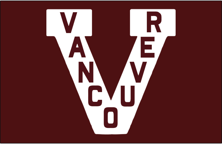 Vancouver  Millionaires Logo Jersey Logo (1914/15-1921/22) - White V with VANCOUVER inside of it on maroon jersey SportsLogos.Net