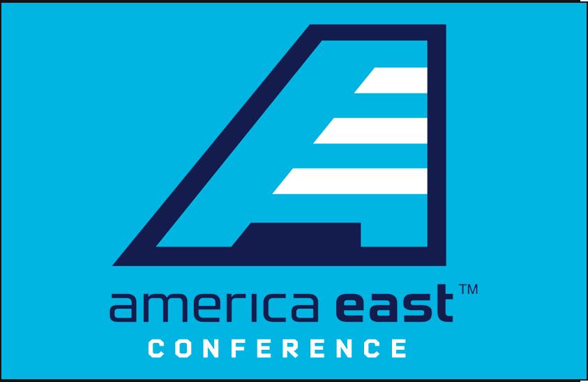 America East Conference Logo Primary Dark Logo (2013-Pres) - America East Conference logo on light blue SportsLogos.Net