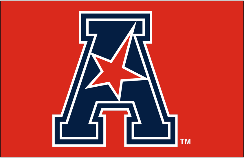 American Athletic Conference Logo Primary Dark Logo (2017-Pres) - AAC logo on red SportsLogos.Net