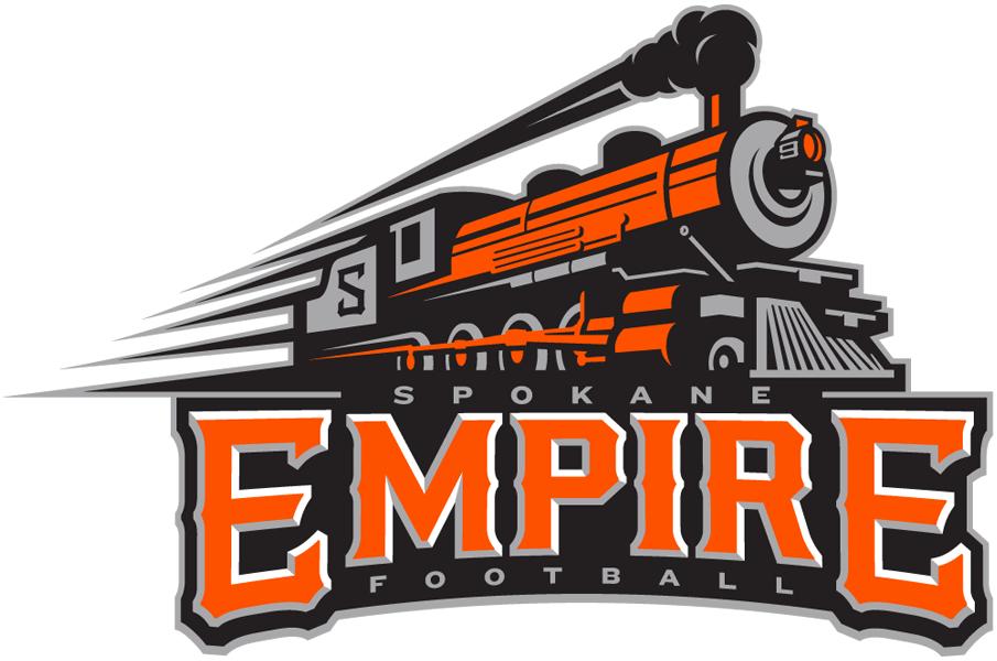 Spokane Empire Logo Primary Logo (2016-Pres) - An orange, grey, and black train above team name SportsLogos.Net