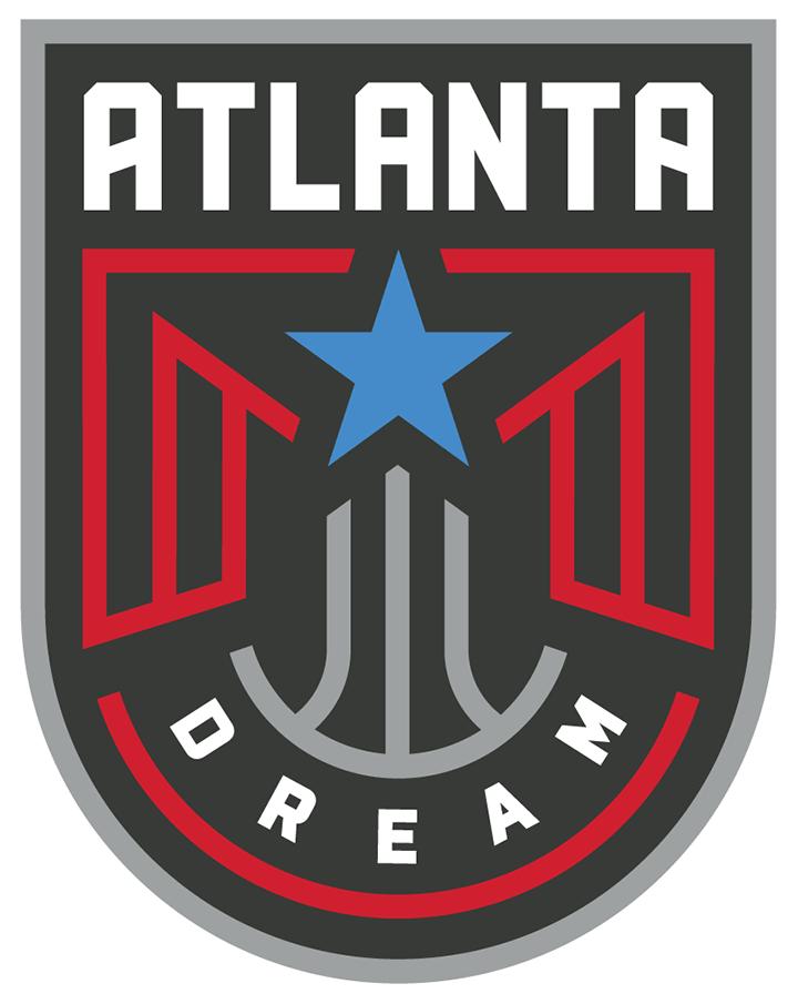 Atlanta Dream Logo Primary Logo (2020-Pres) - A red phoenix with a blue star on a grey basketball on a dark grey shield, ATLANTA above in white, DREAM arched below SportsLogos.Net