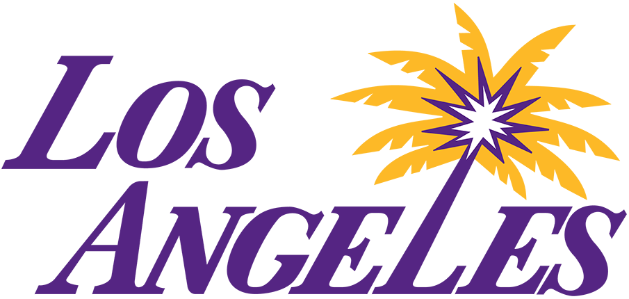 Los Angeles Sparks Logo Alternate Logo (2021-Pres) - For the 2021 WNBA season, the Los Angeles Sparks made the first logo change in the 25-year history of their franchise. Officially referred to as their Secondary Logo, this Sparks logo features the team location of LOS ANGELES in italic lettering and heavily inspired by the NBA Los Angeles Lakers. The second L of LOS ANGELES serves as the trunk of a palm tree with purple and yellow fronds. SportsLogos.Net