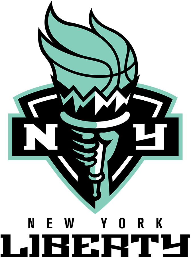 New York Liberty Logo Primary Logo (2020-Pres) - The torch from the Statue of Liberty in a black shield, the team name below SportsLogos.Net
