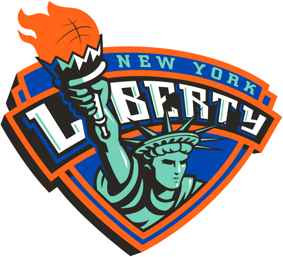 New York Liberty Logo Primary Logo (1997-2019) - Statue of Liberty with a basketball torch coming out of a shield SportsLogos.Net