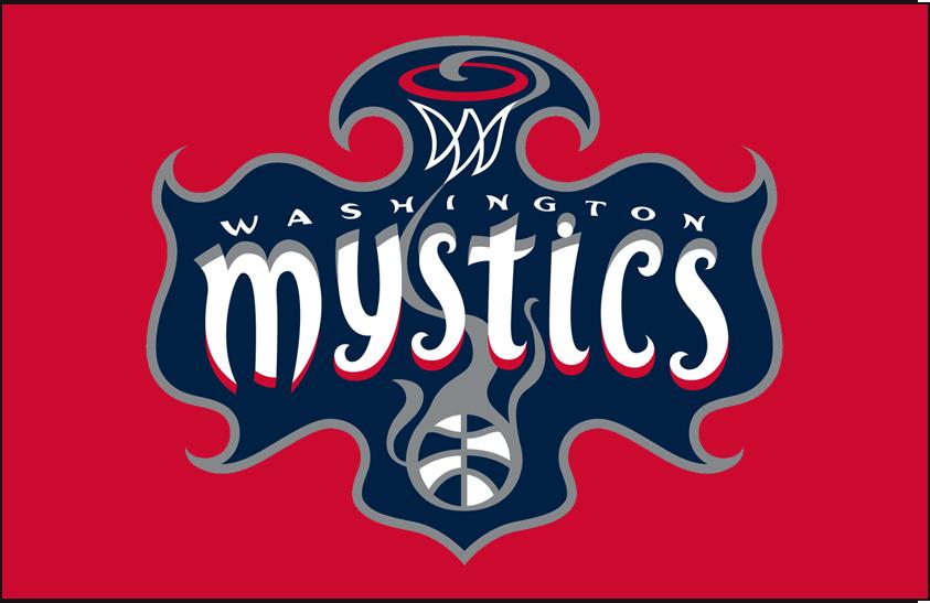Washington Mystics Logo Primary Dark Logo (2011-Pres) - Primary on red SportsLogos.Net