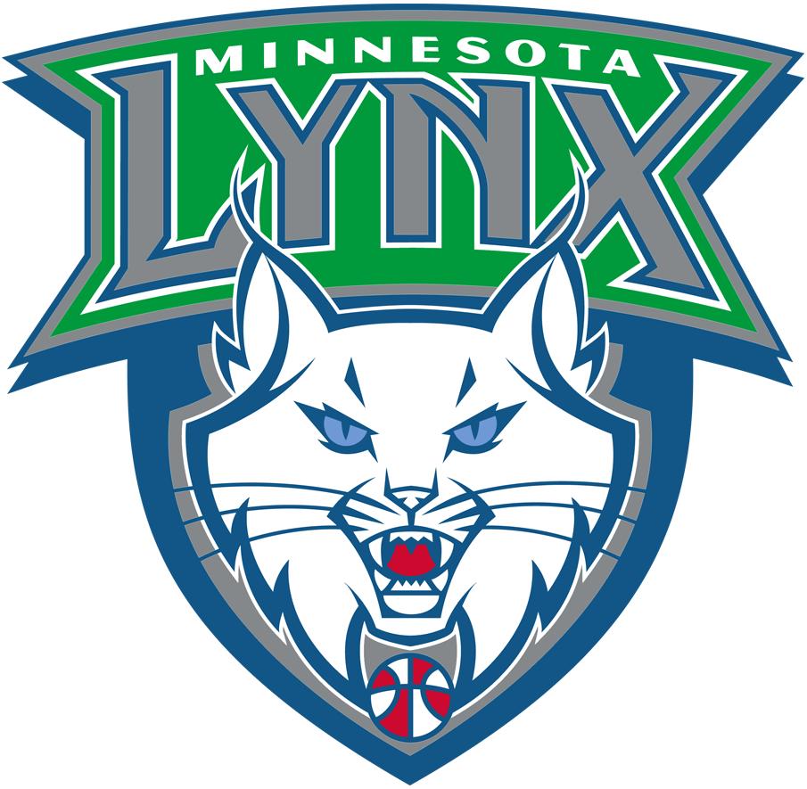 Minnesota Lynx Logo Primary Logo (2011-2017) - White cat on blue shield with Lynx on green banner above SportsLogos.Net