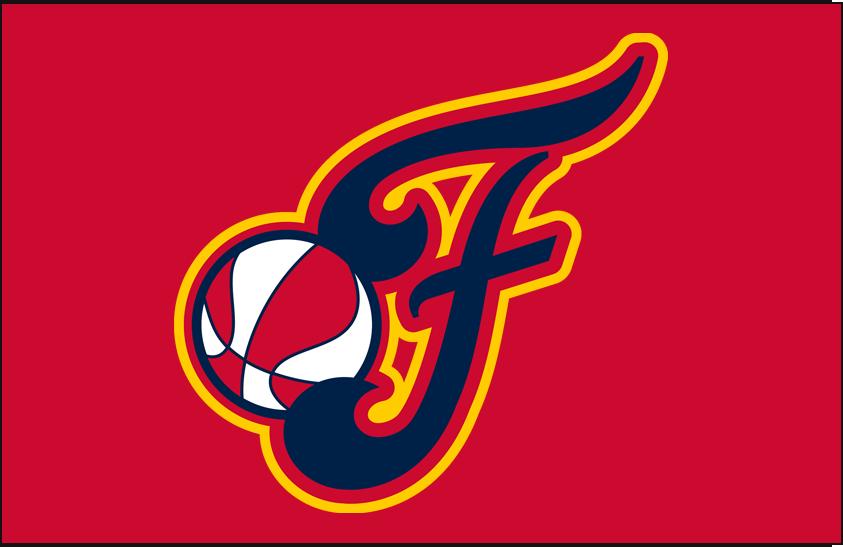 Indiana Fever Logo Alt on Dark Logo (2000-Pres) - Alternate on Red SportsLogos.Net