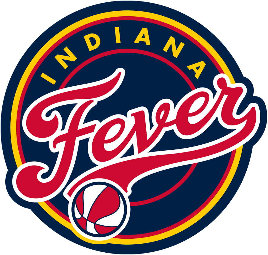 Indiana Fever Logo Primary Logo (2000-Pres) - Fever scripted in red on blue circle with basketball SportsLogos.Net