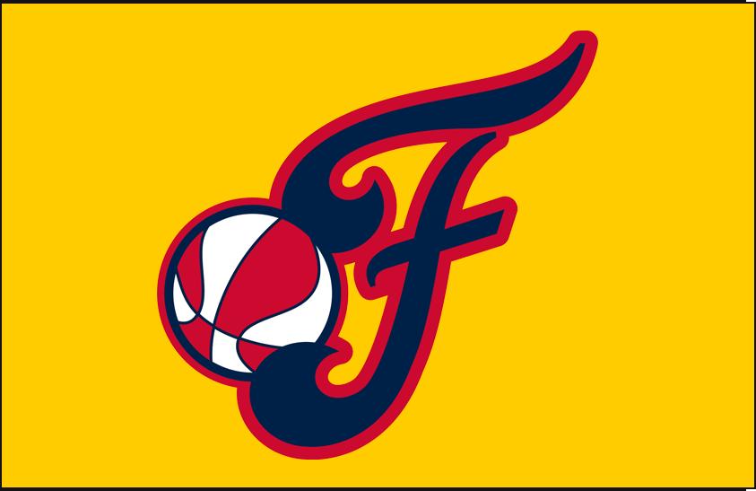 Indiana Fever Logo Alt on Dark Logo (2000-Pres) - Alternate on Yellow SportsLogos.Net