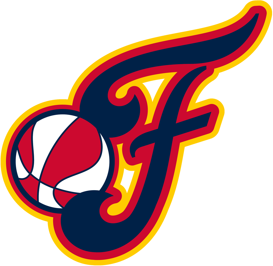 Indiana Fever Logo Alternate Logo (2000-Pres) - Red, yellow, and blue scripted F with basketball SportsLogos.Net